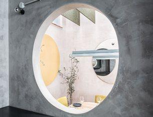 Concrete, Pastel Hues and Circles