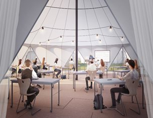 Curl la Tourelle Head builds first socially distanced school tent